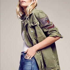 FreePeople embellished military shirt jacket